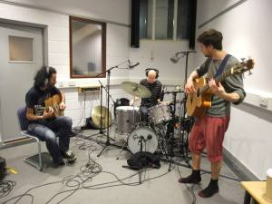 Jamming in the studio with Clive deamer